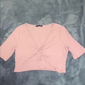 Abercrombie Mauvy Pink crop top